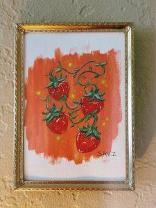 Gouache art of strawberries by self taught artist Savannah Zimmerman